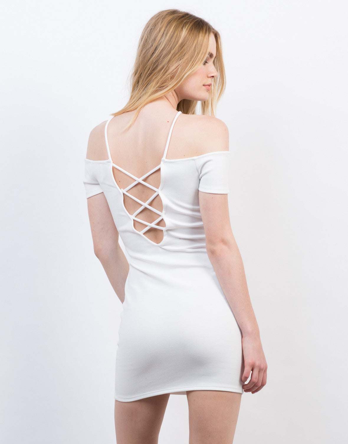 Back View of Cold Shoulder Criss Cross Dress