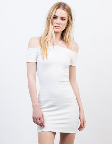 Front View of Cold Shoulder Criss Cross Dress