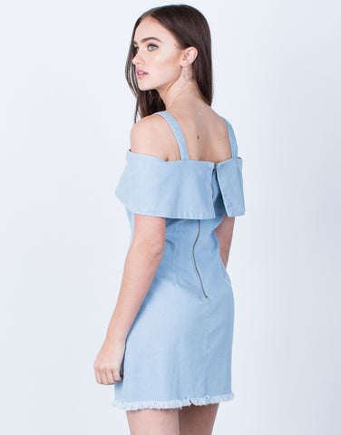 Back View of Cold Shoulder Denim Dress