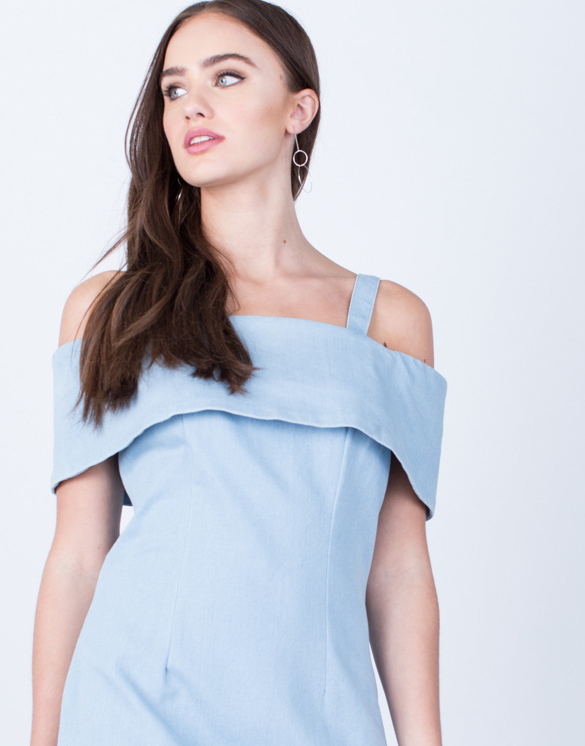 Detail of Cold Shoulder Denim Dress