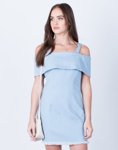 Front View of Cold Shoulder Denim Dress