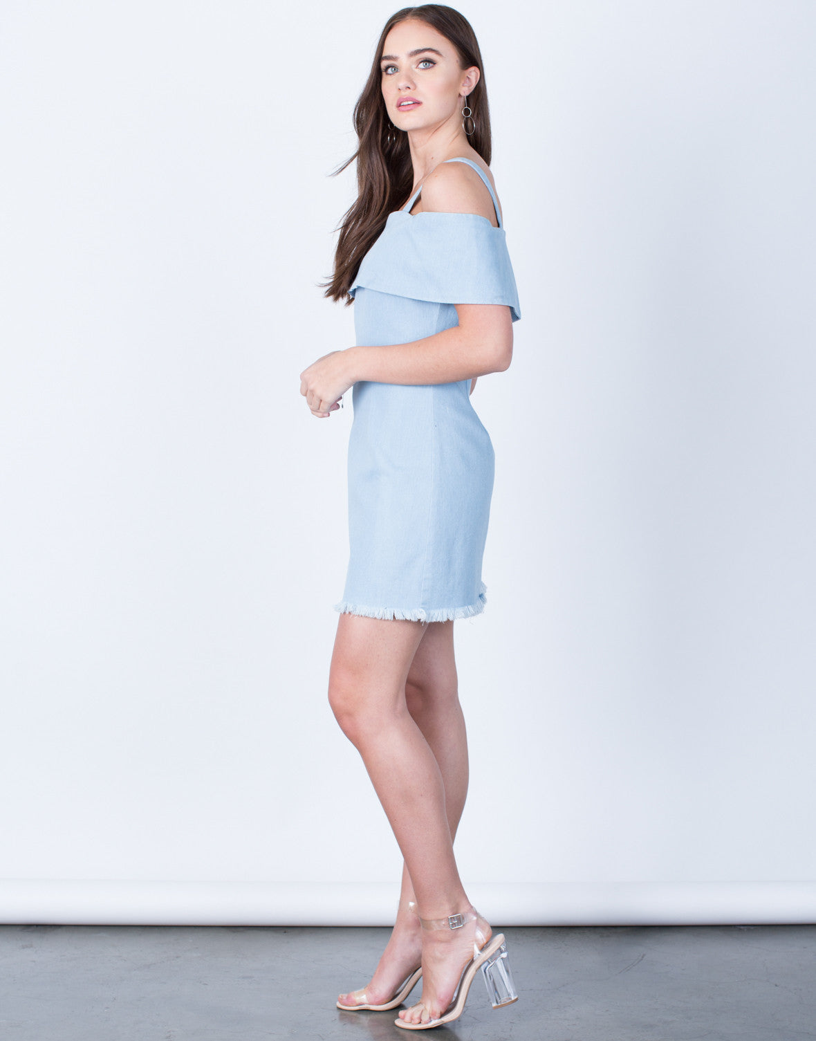 Side View of Cold Shoulder Denim Dress