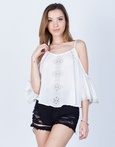 Front View of Cold Shoulder Embroidered Blouse