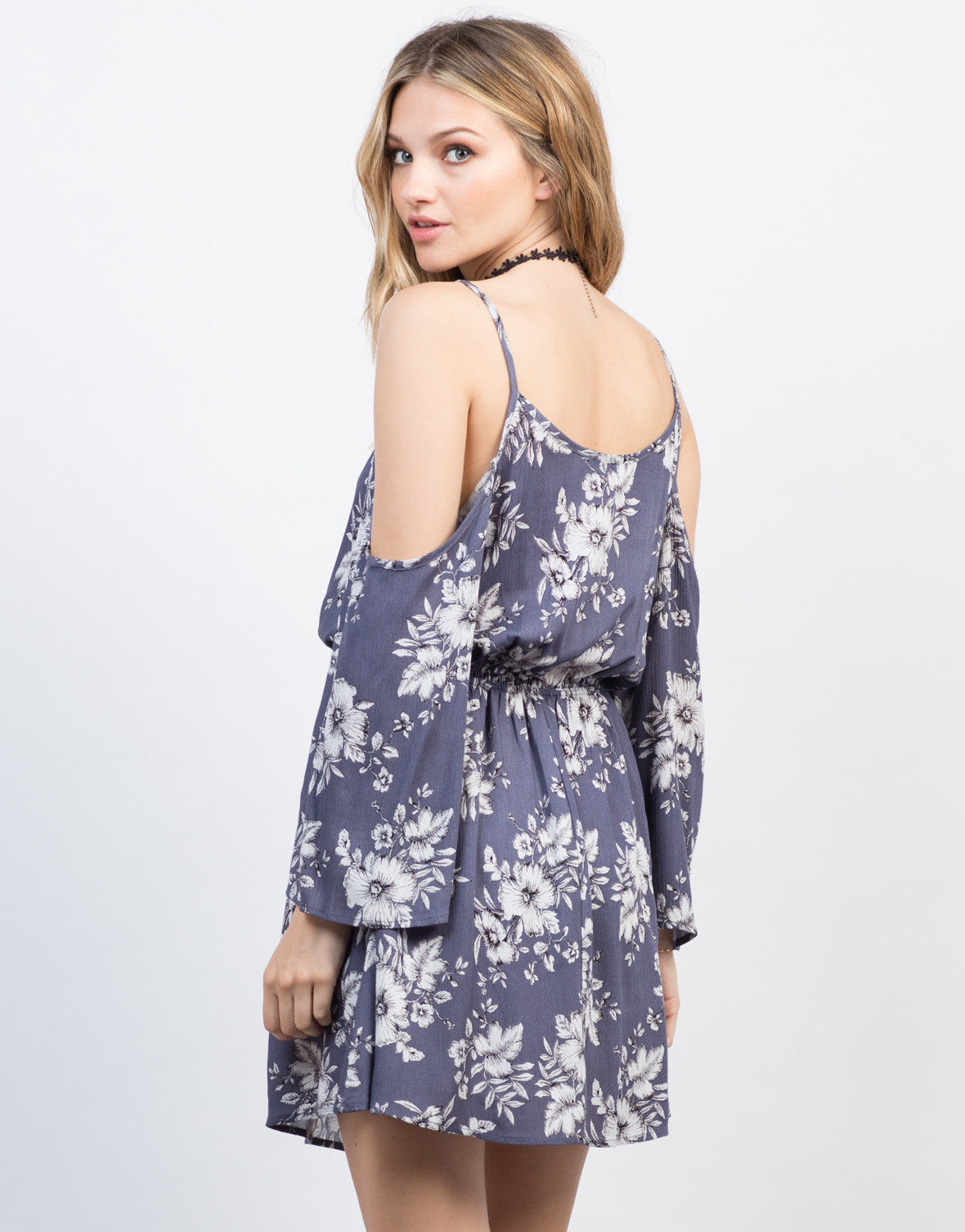 Back View of Cold Shoulder Floral Dress