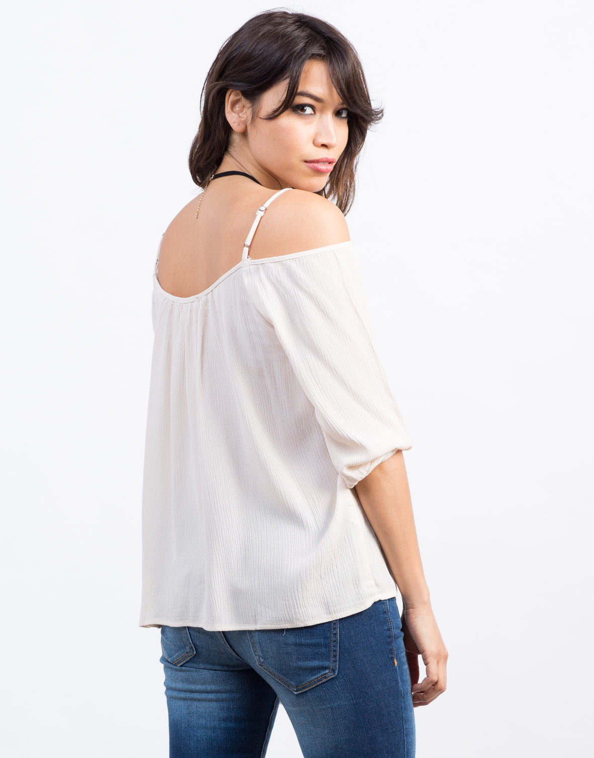 Back View of Cold Shoulder Gauze Top