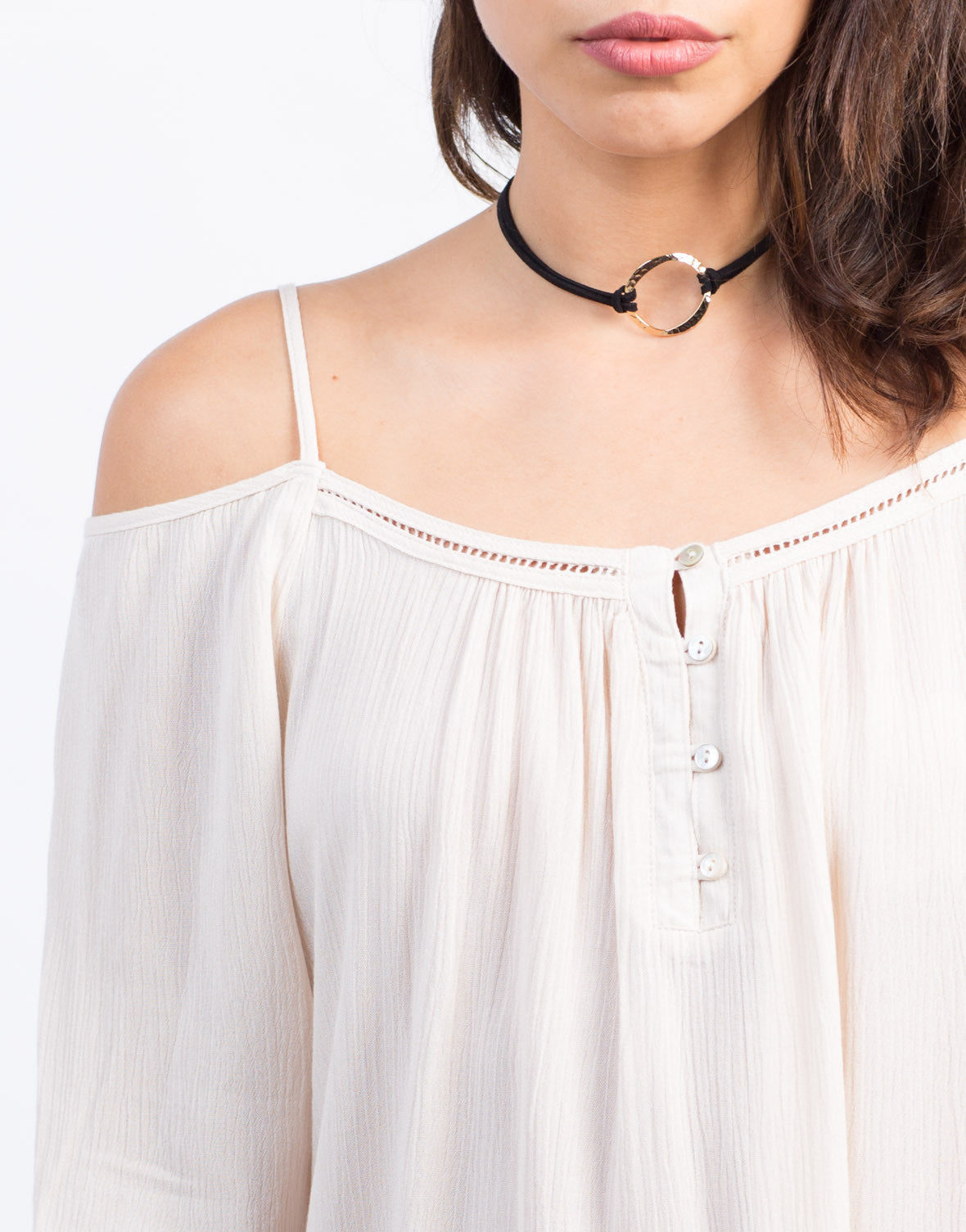 Detail of Cold Shoulder Gauze Top