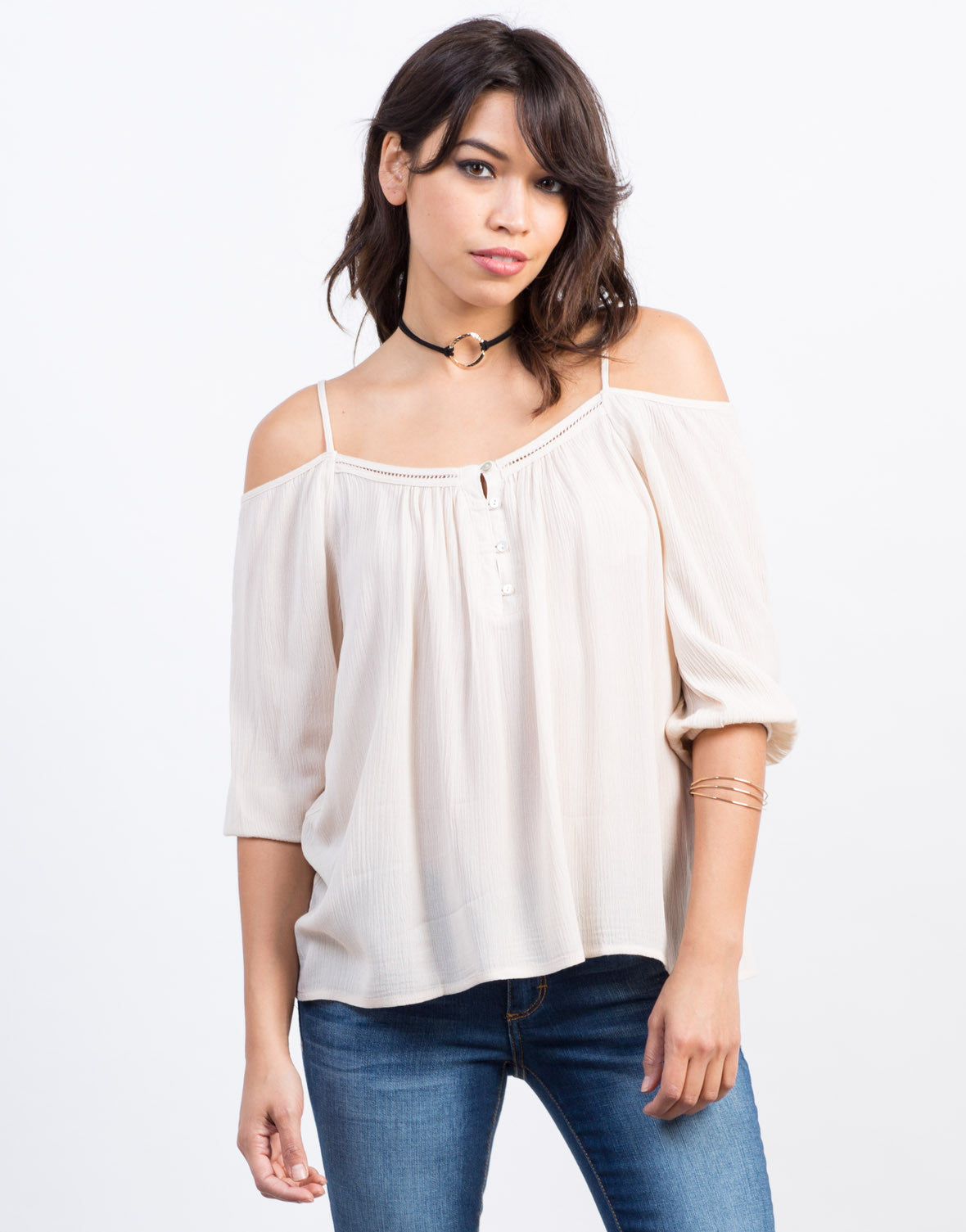 Front View of Cold Shoulder Gauze Top