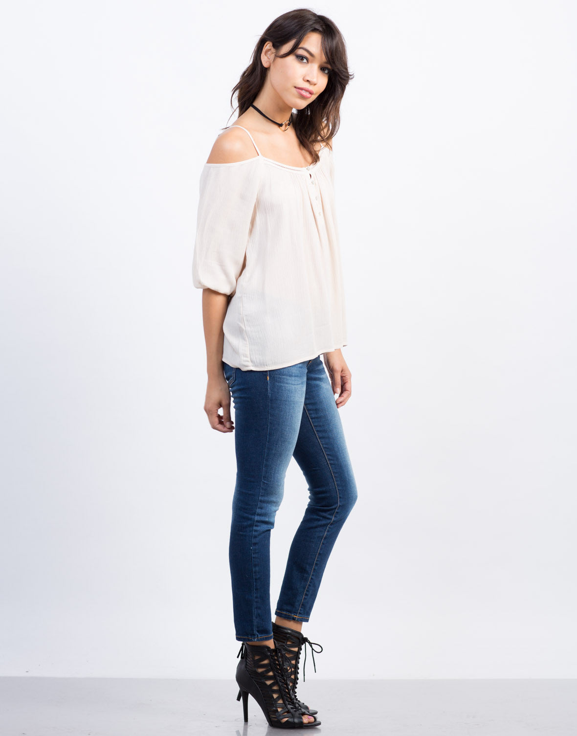 Side View of Cold Shoulder Gauze Top