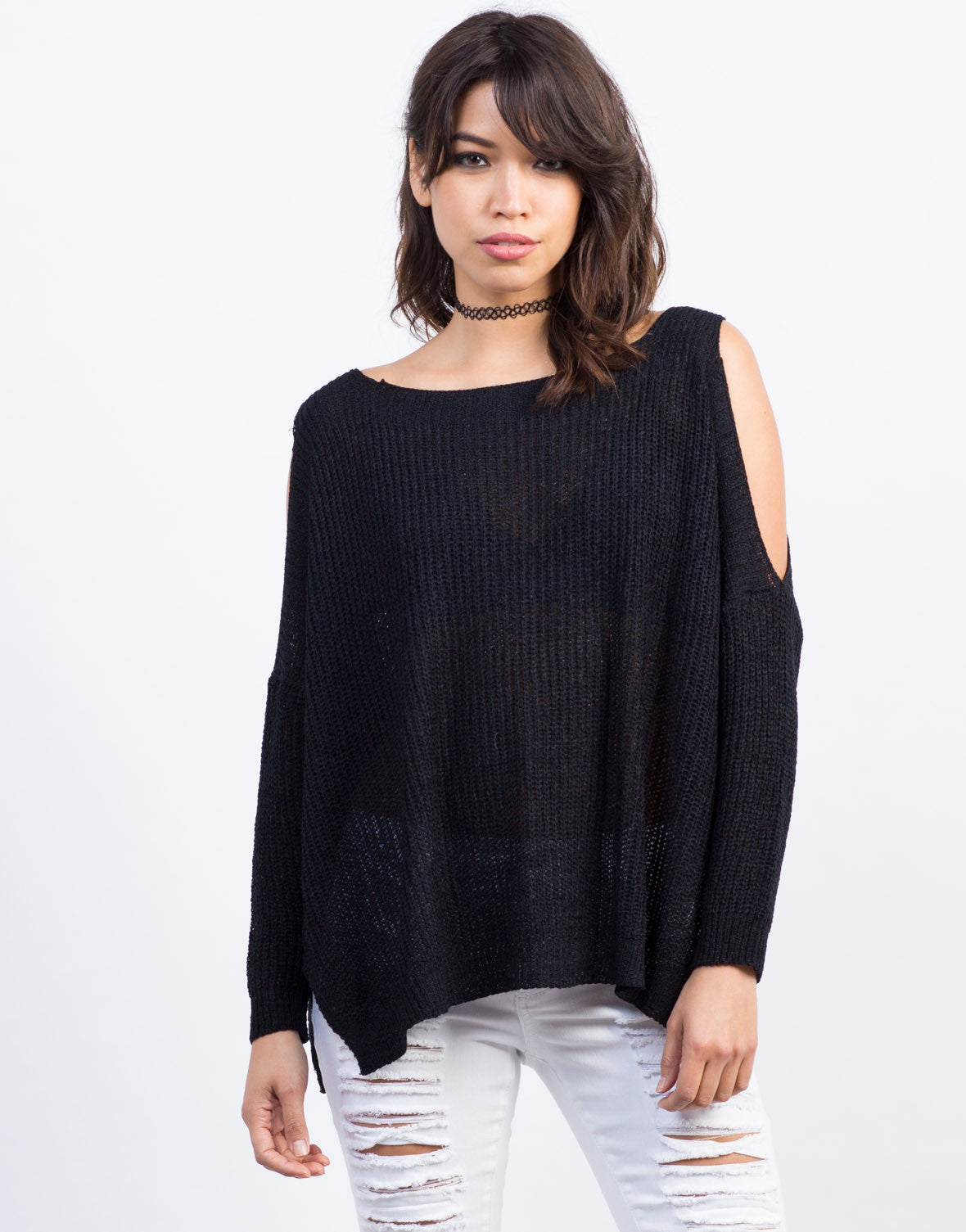 Front View of Cold Shoulder Knit Sweater