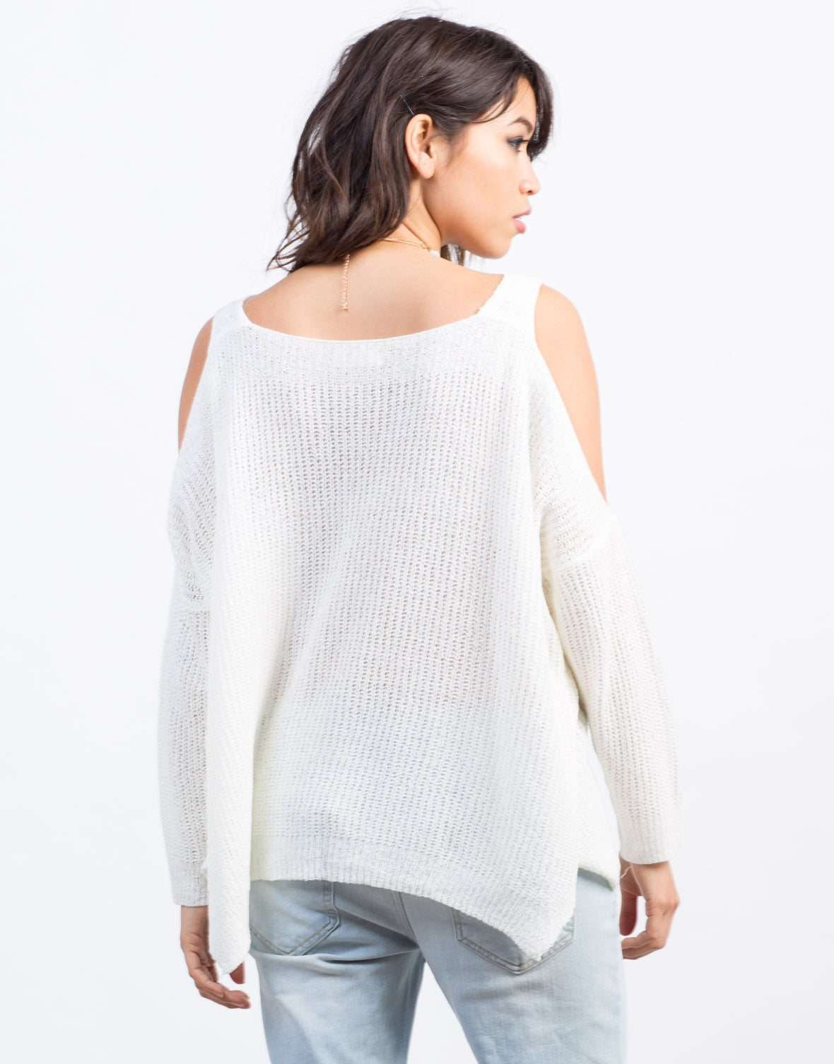 Back View of Cold Shoulder Knit Sweater