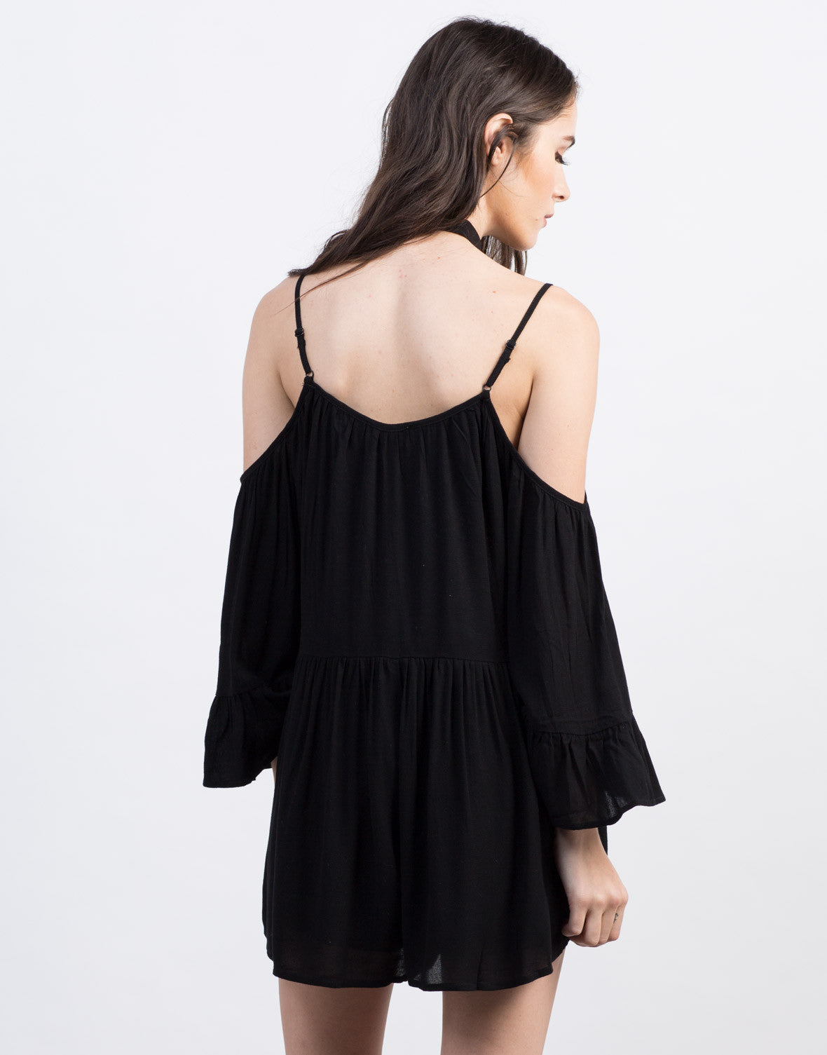 Back View of Cold Shoulder Peasant Romper