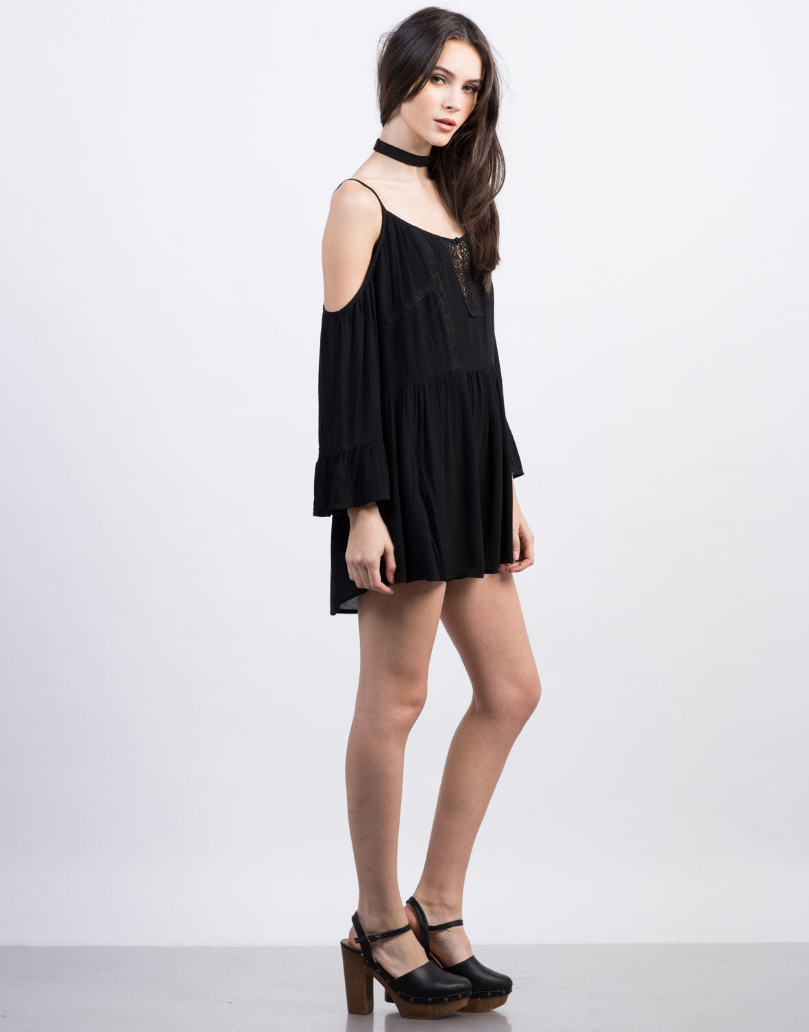 Side View of Cold Shoulder Peasant Romper