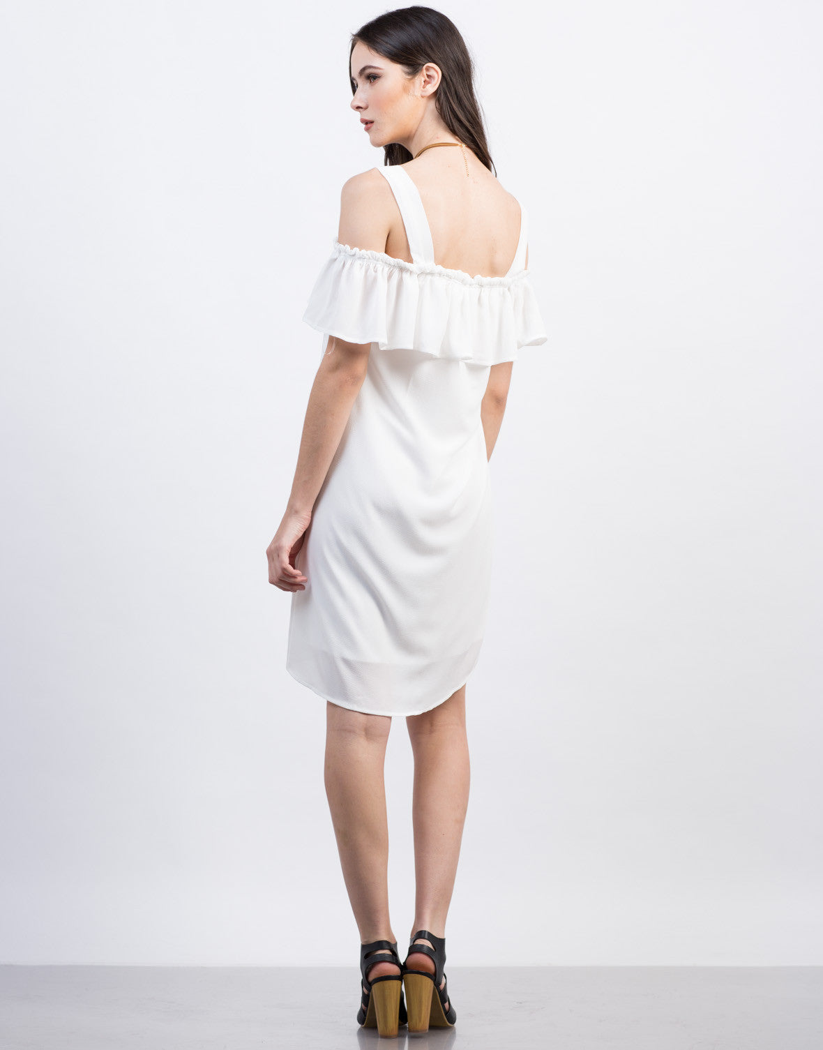 Back View of Cold Shoulder Ruffle Dress