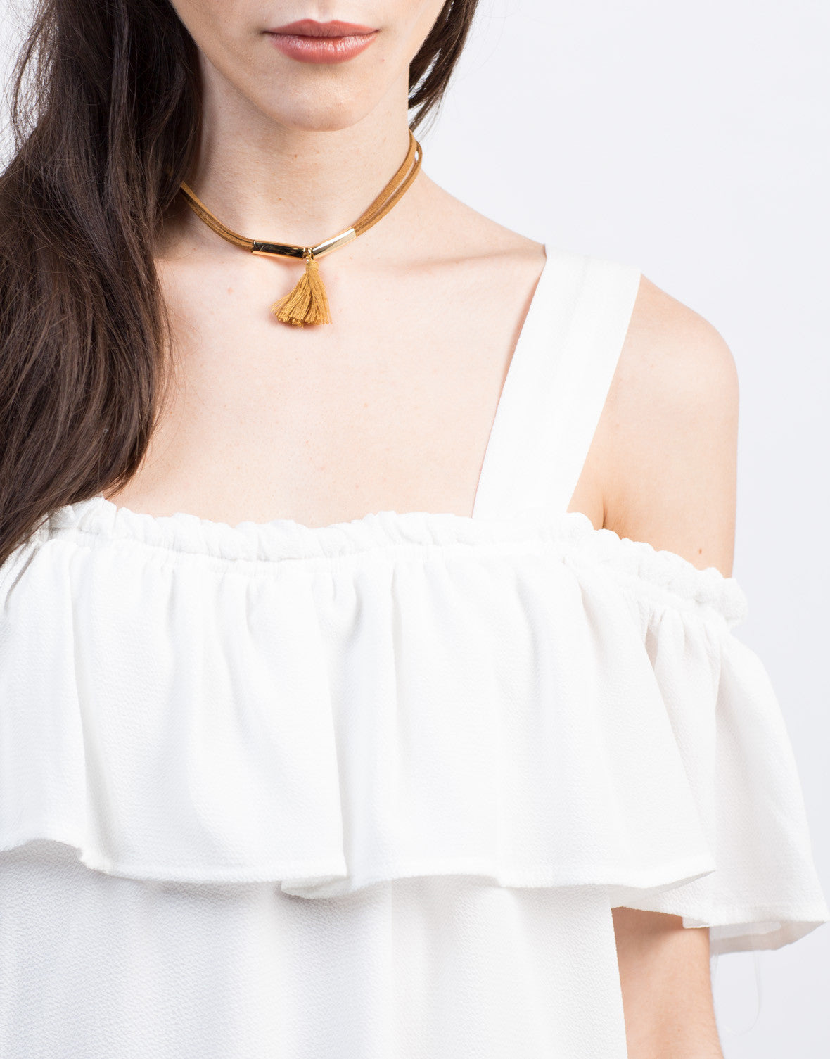 Detail of Cold Shoulder Ruffle Dress