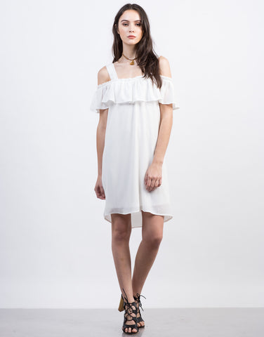 Front View of Cold Shoulder Ruffle Dress