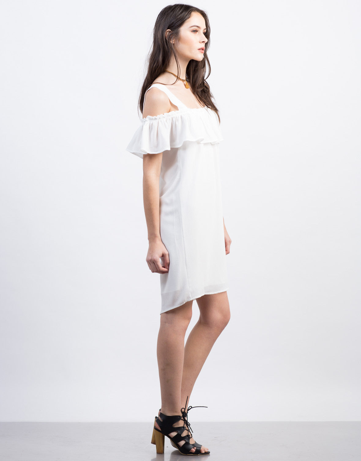 Side View of Cold Shoulder Ruffle Dress