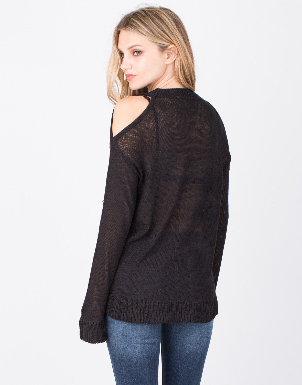 Back View of Cold Shoulder Sweater Top