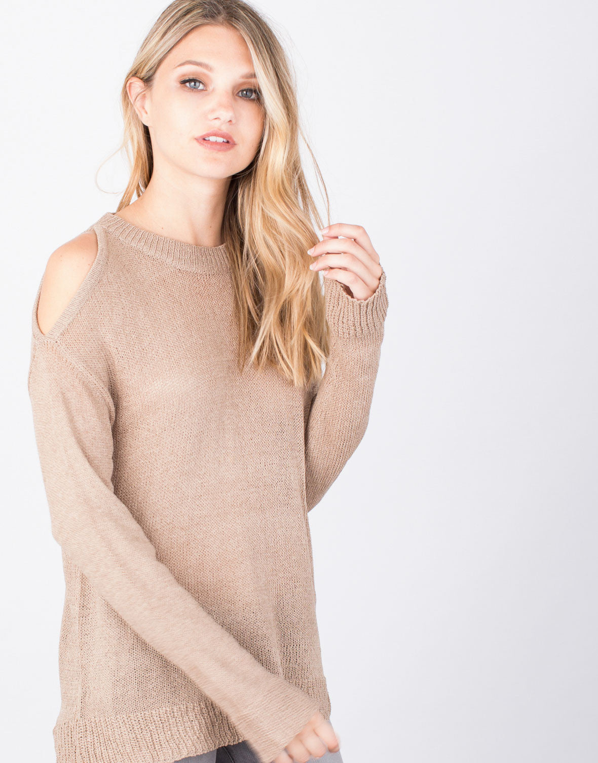 Detail of Cold Shoulder Sweater Top