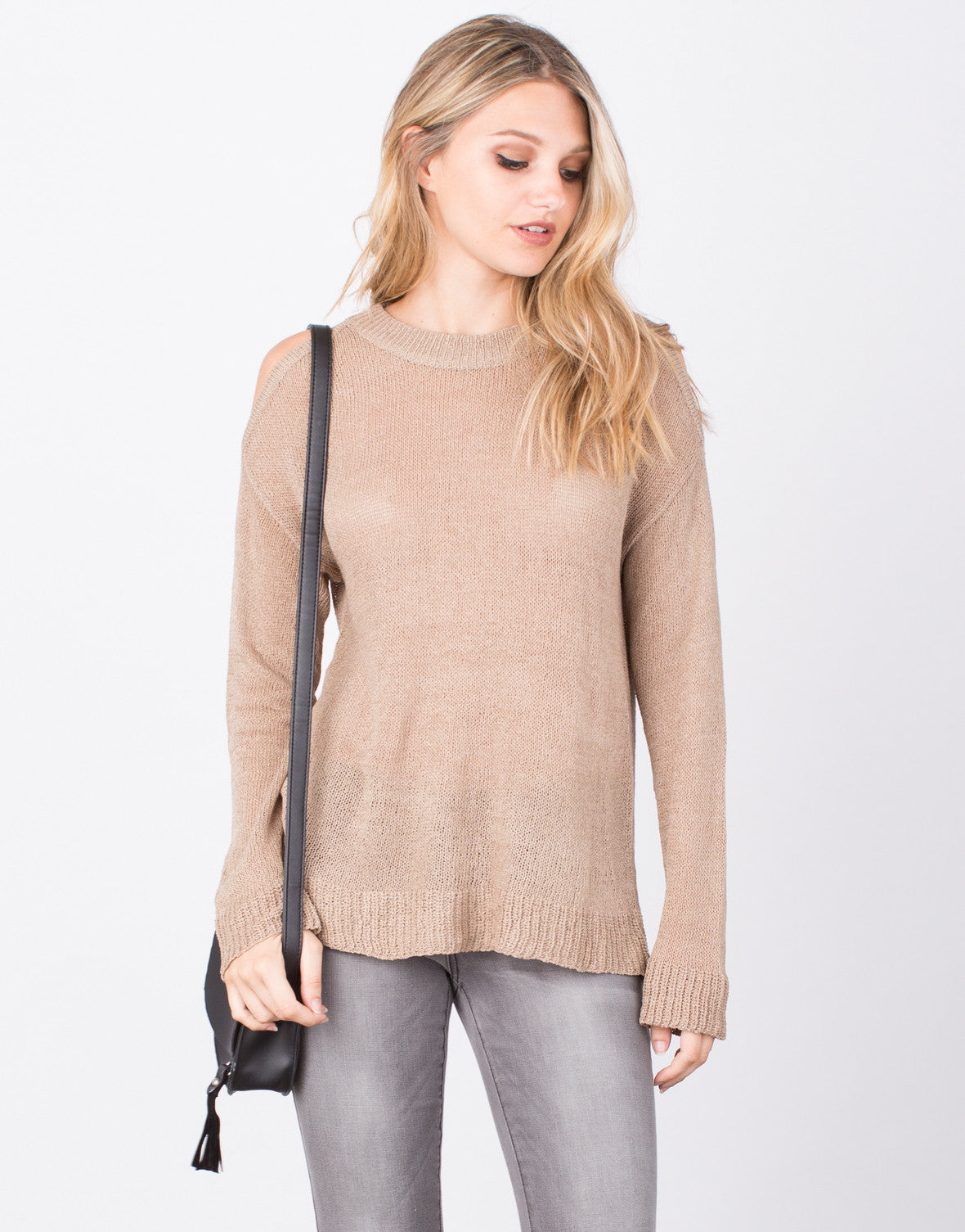 Front View of Cold Shoulder Sweater Top