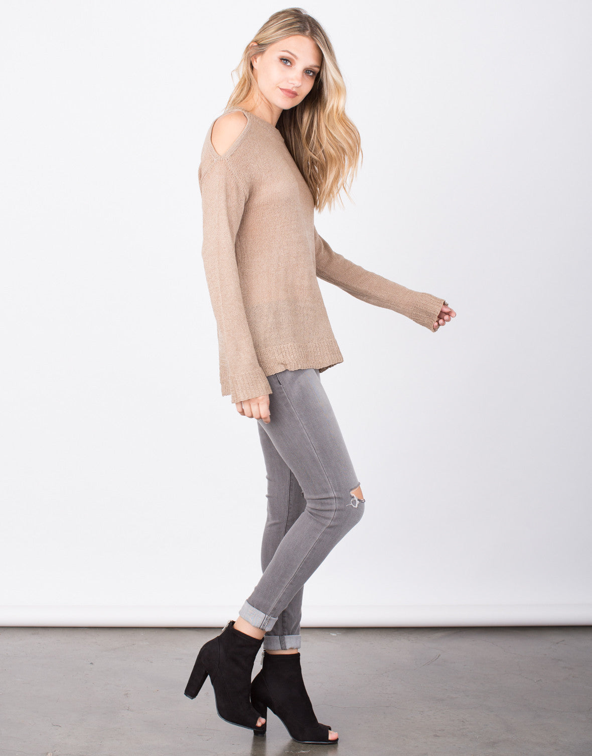 Side View of Cold Shoulder Sweater Top