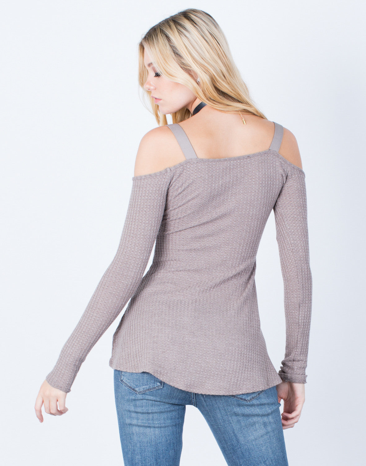 Back View of Cold Shoulder Thermal Top
