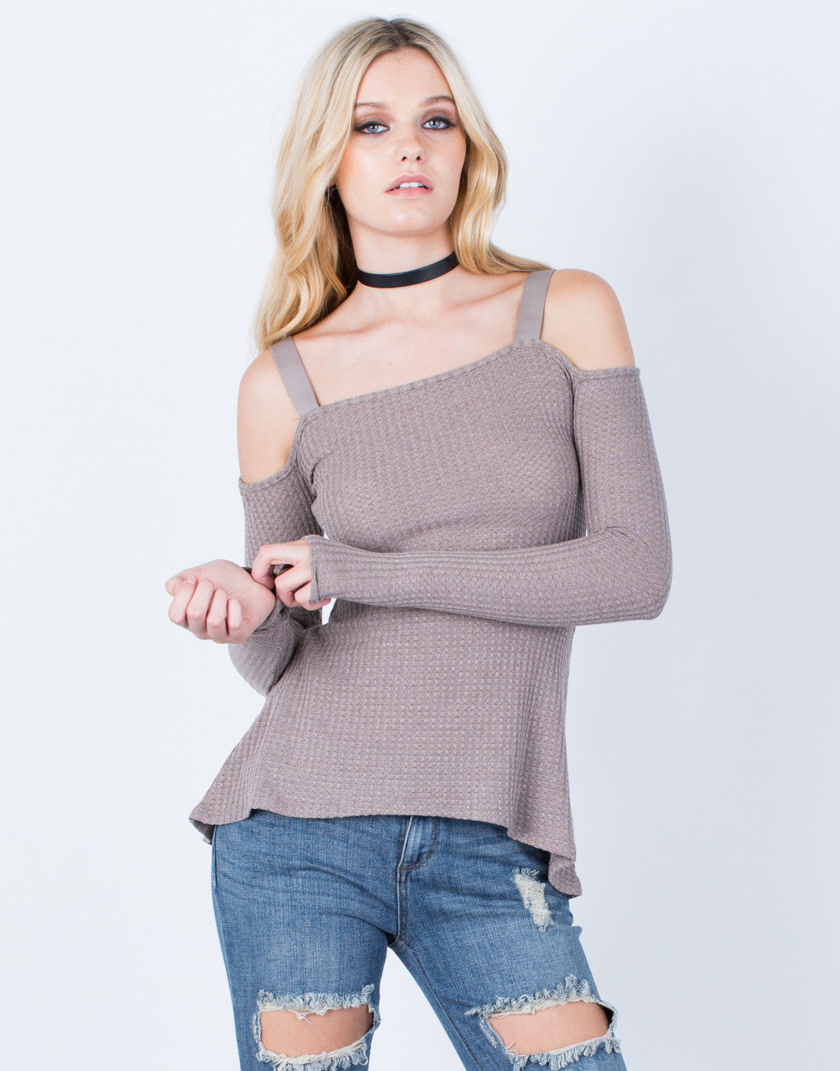 Front View of Cold Shoulder Thermal Top