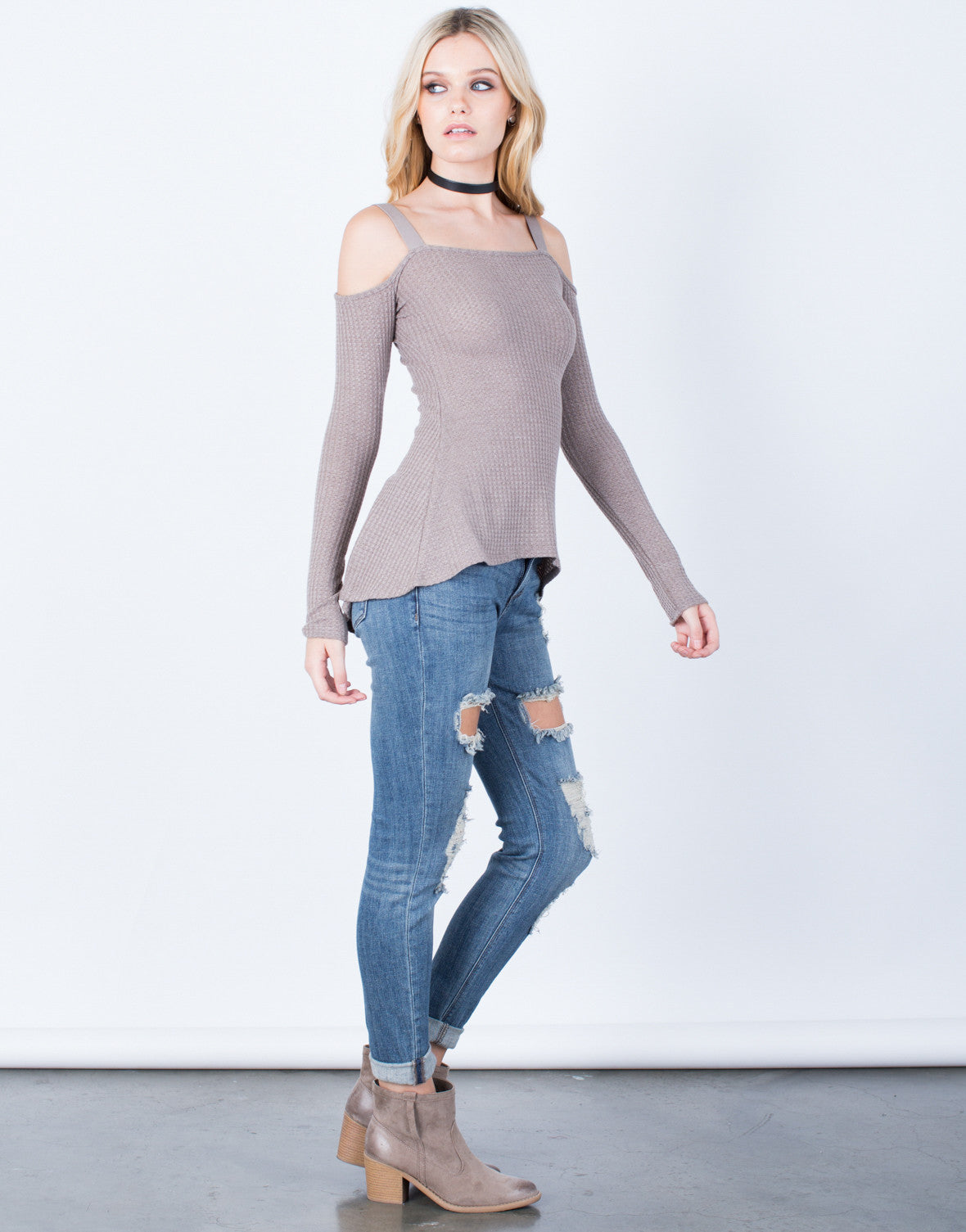 Side View of Cold Shoulder Thermal Top