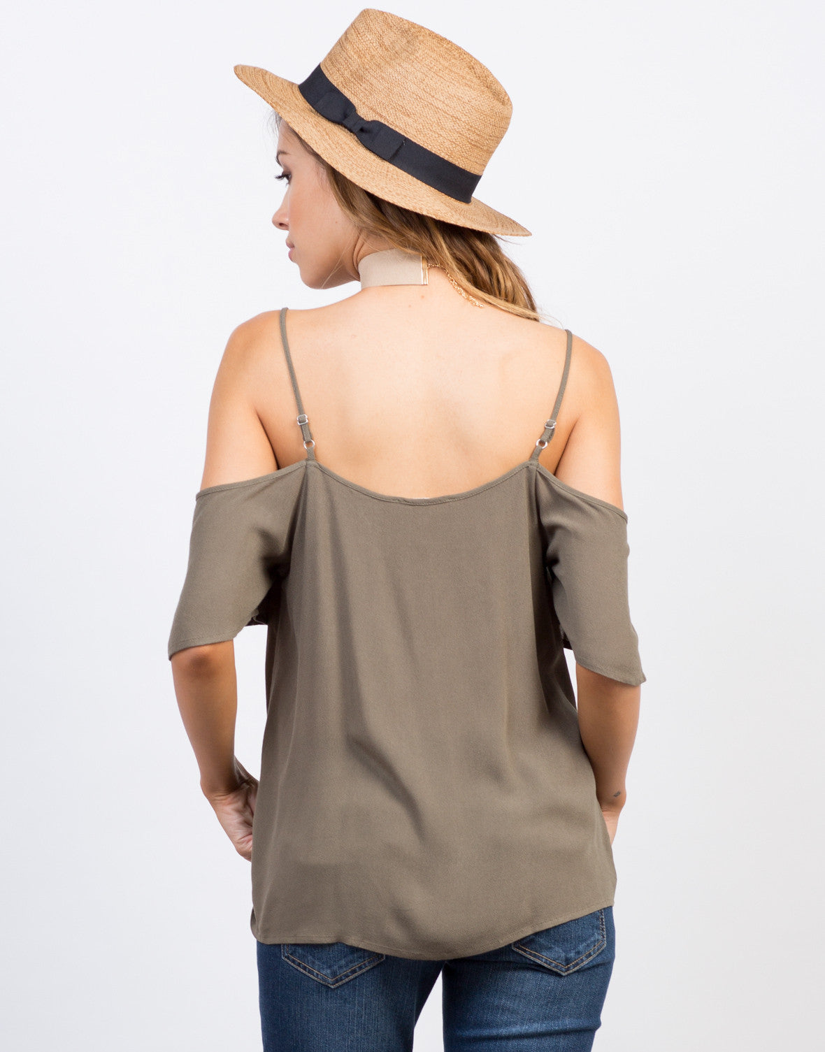 Back View of Cold Shoulder Tied Up Top