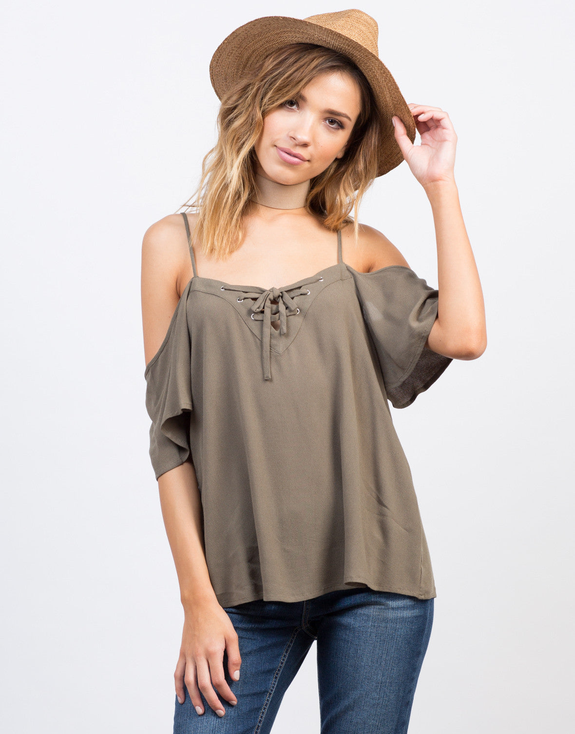 Front View of Cold Shoulder Tied Up Top