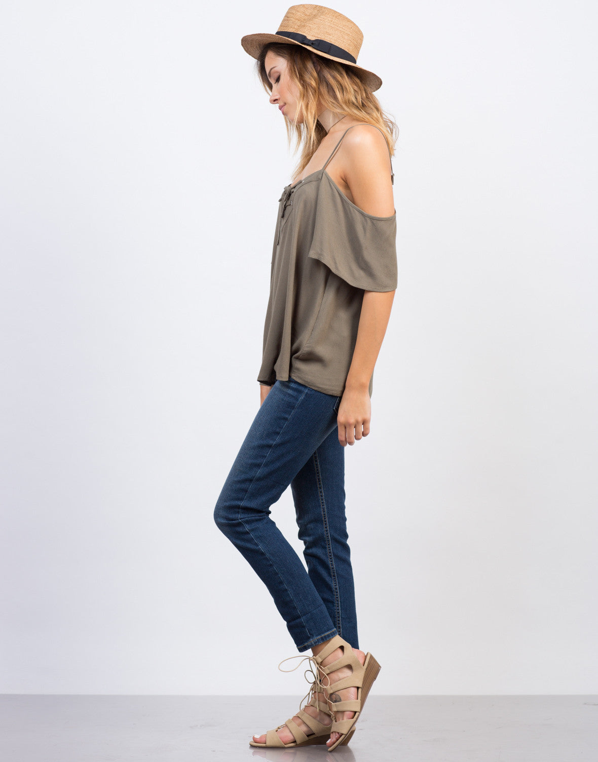 Side View of Cold Shoulder Tied Up Top