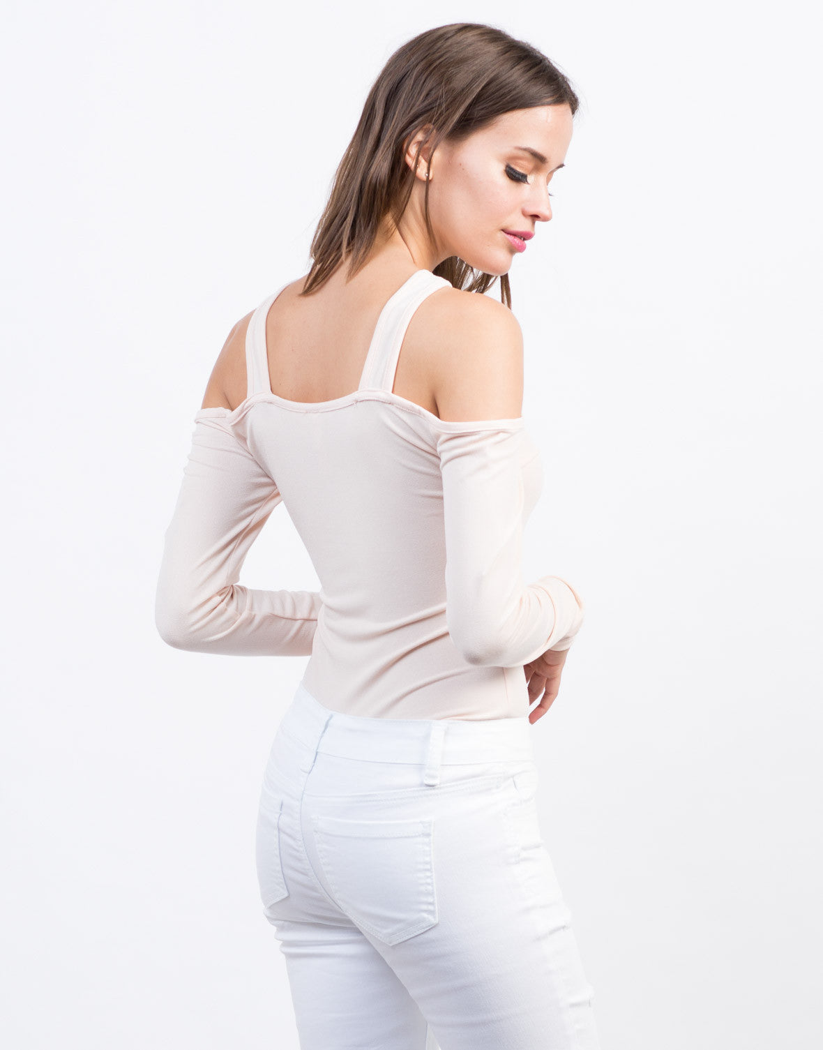 Back View of Cold Shoulder Top