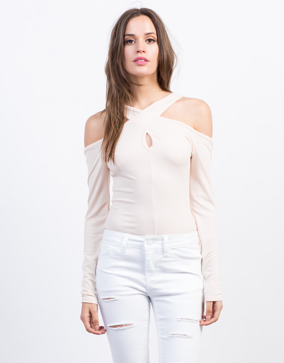 Front View of Cold Shoulder Top