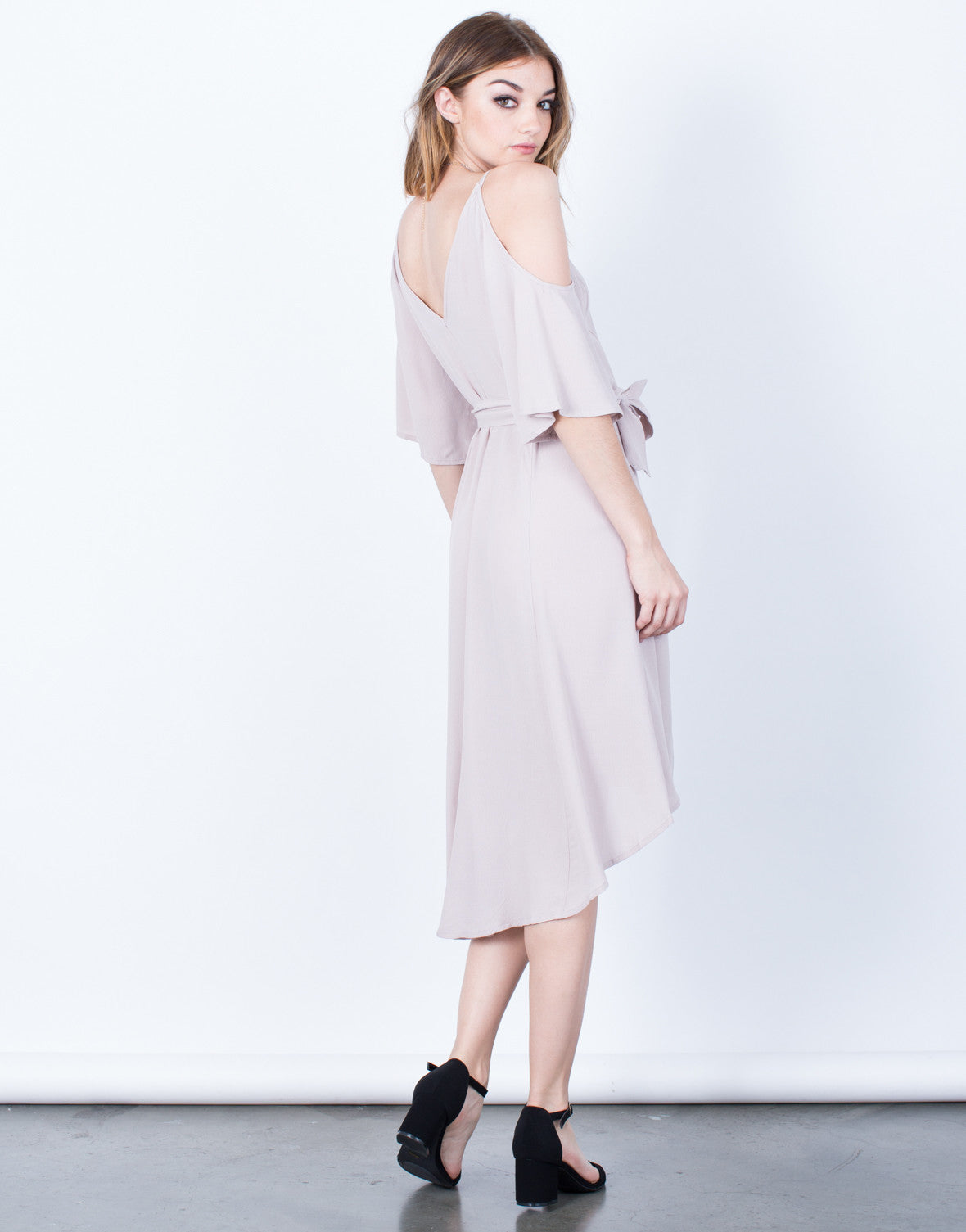 Back View of Cold Shoulder Wrap Dress