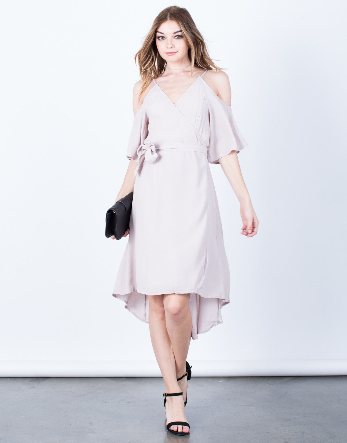 Front View of Cold Shoulder Wrap Dress