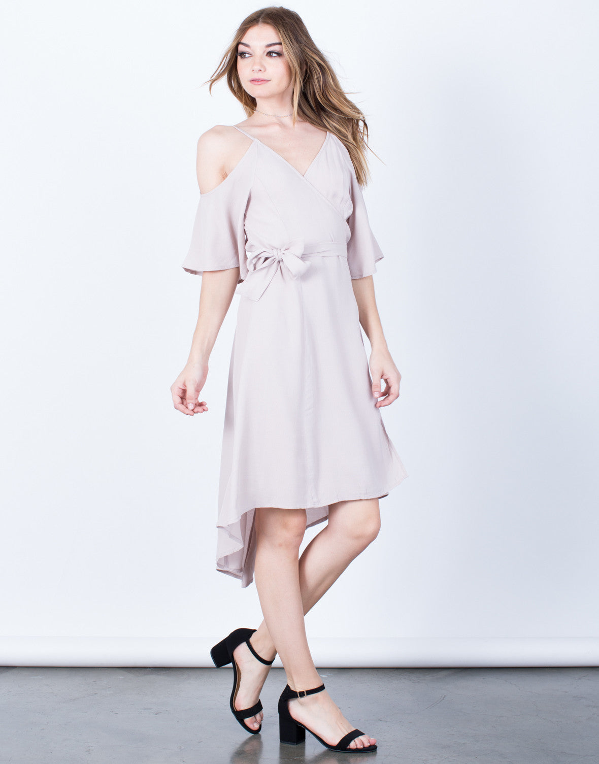 Side View of Cold Shoulder Wrap Dress