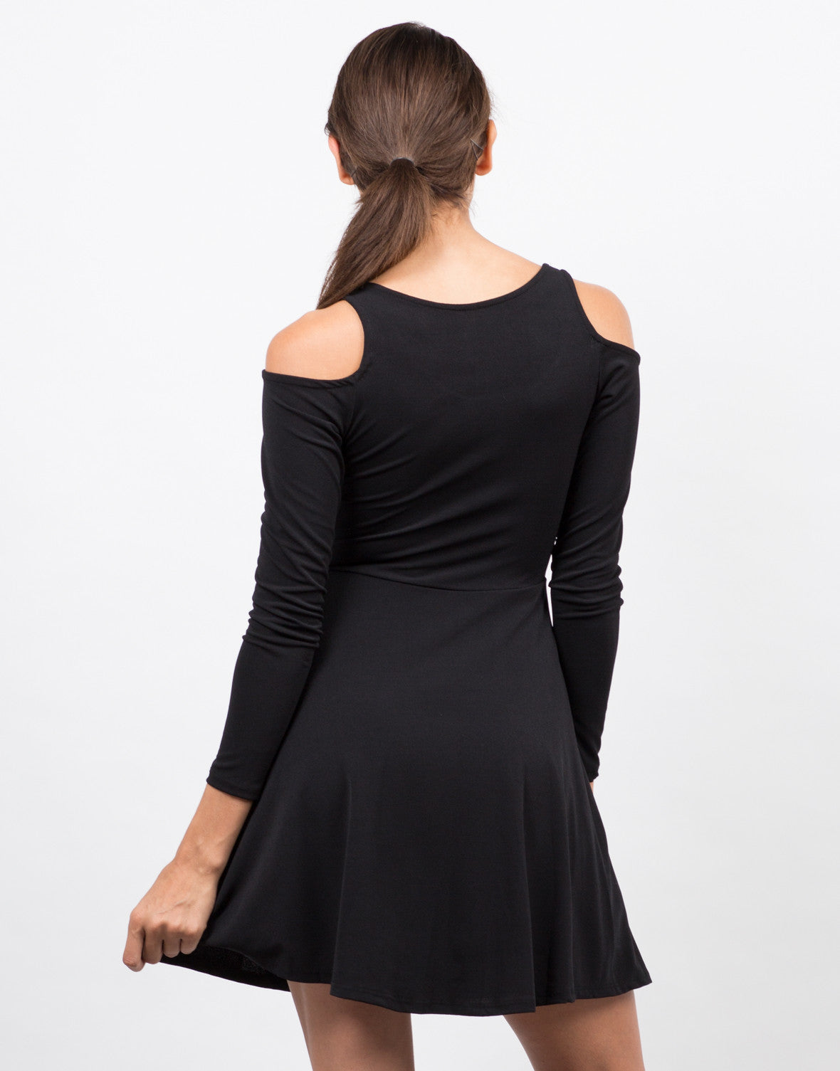 Back View of Cold Shoulder Long Sleeve Mini Dress