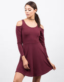 Front View of Cold Shoulder Long Sleeve Mini Dress