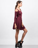 Side View of Cold Shoulder Long Sleeve Mini Dress