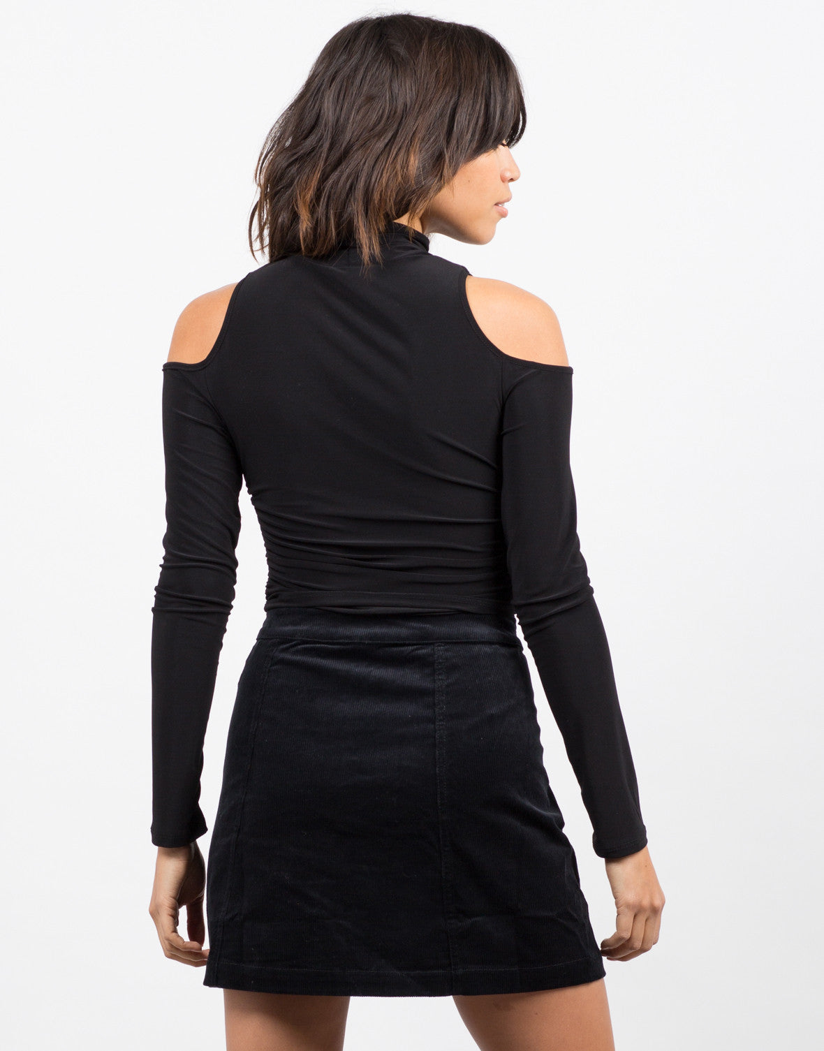Back View of Cold Shoulder Crop Top