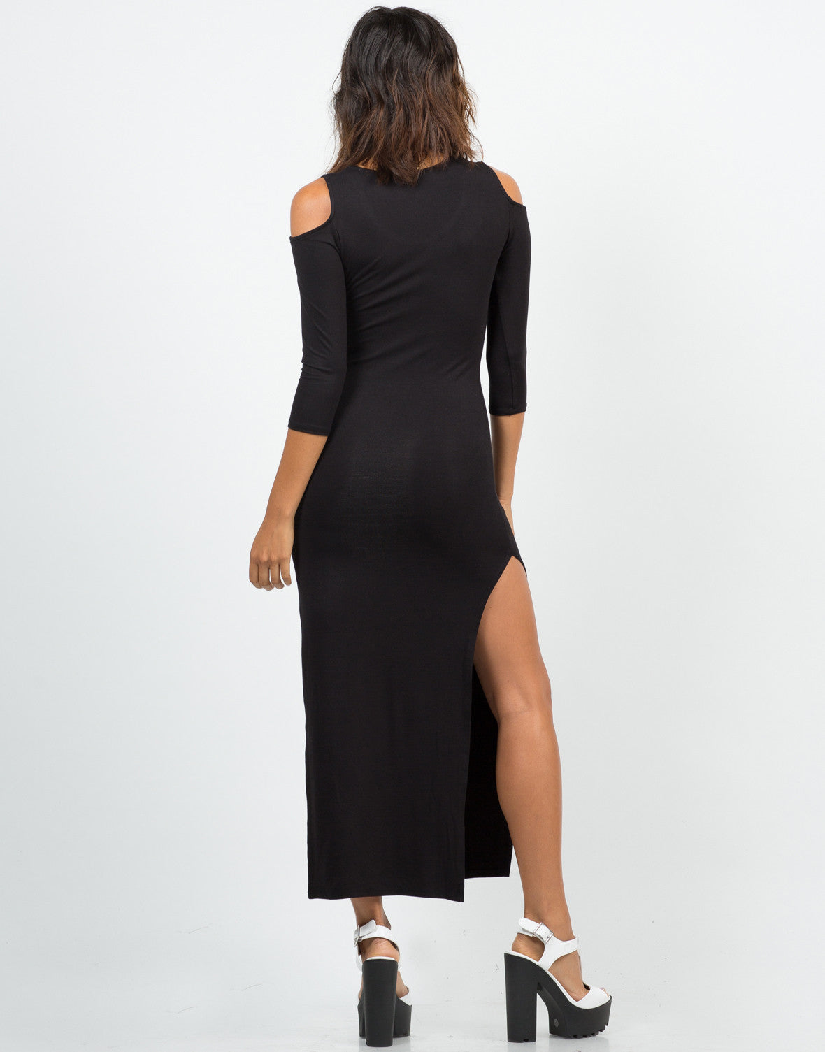 Back View of Cold Shoulder Double Slit Maxi Dress