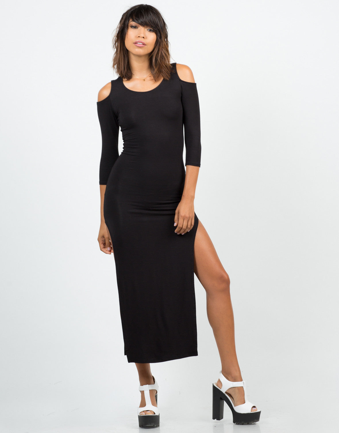 Front View of Cold Shoulder Double Slit Maxi Dress