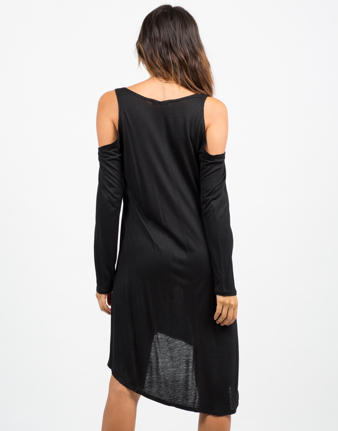 Back View of Cold Shoulder Dress