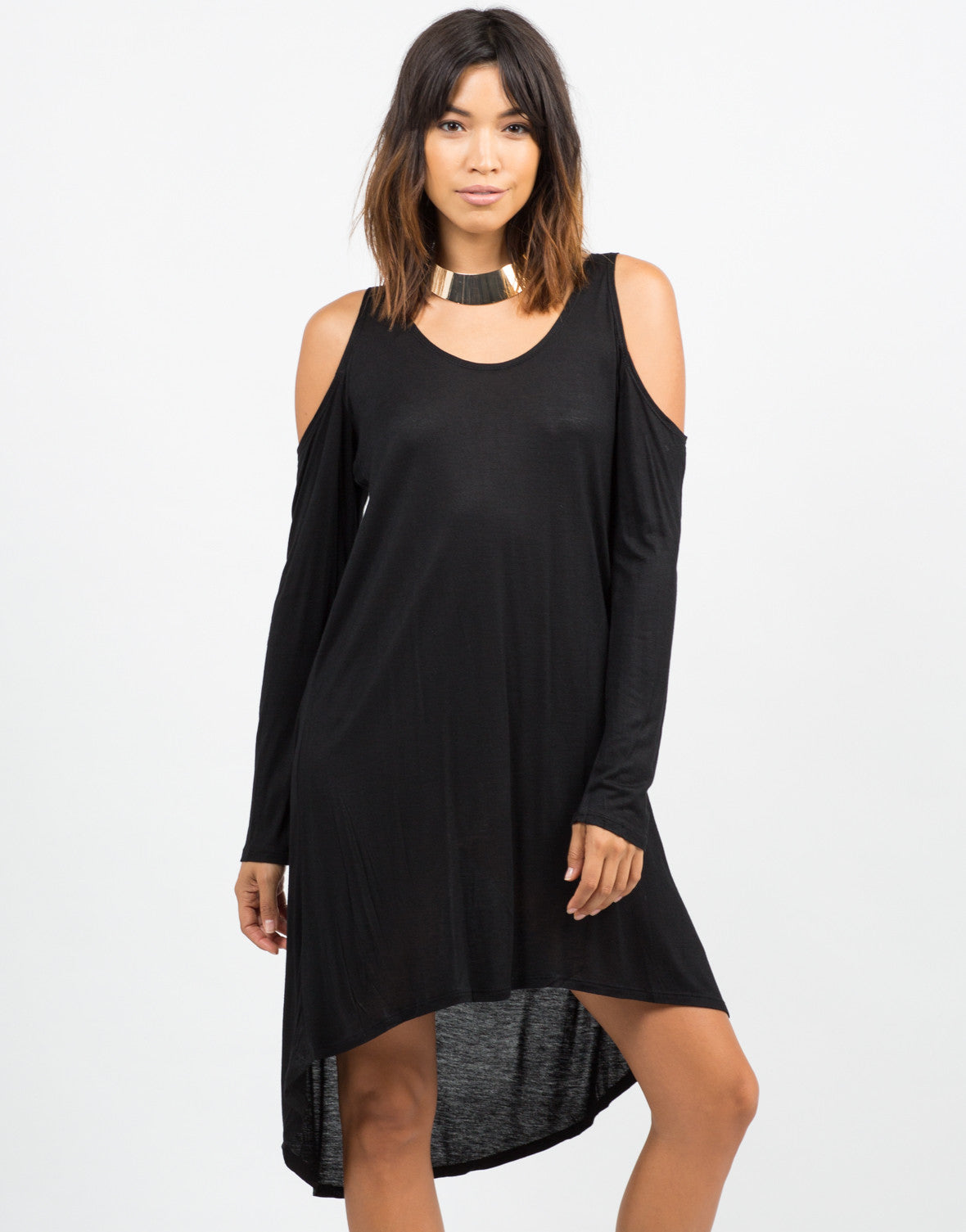 Front View of Cold Shoulder Dress