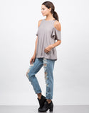 Side View of Cold Shoulder Soft Flowy Top