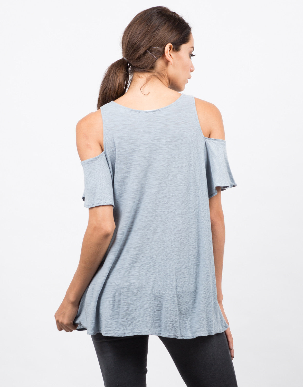 Back View of Cold Shoulder Soft Flowy Top