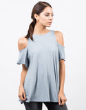 Front View of Cold Shoulder Soft Flowy Top