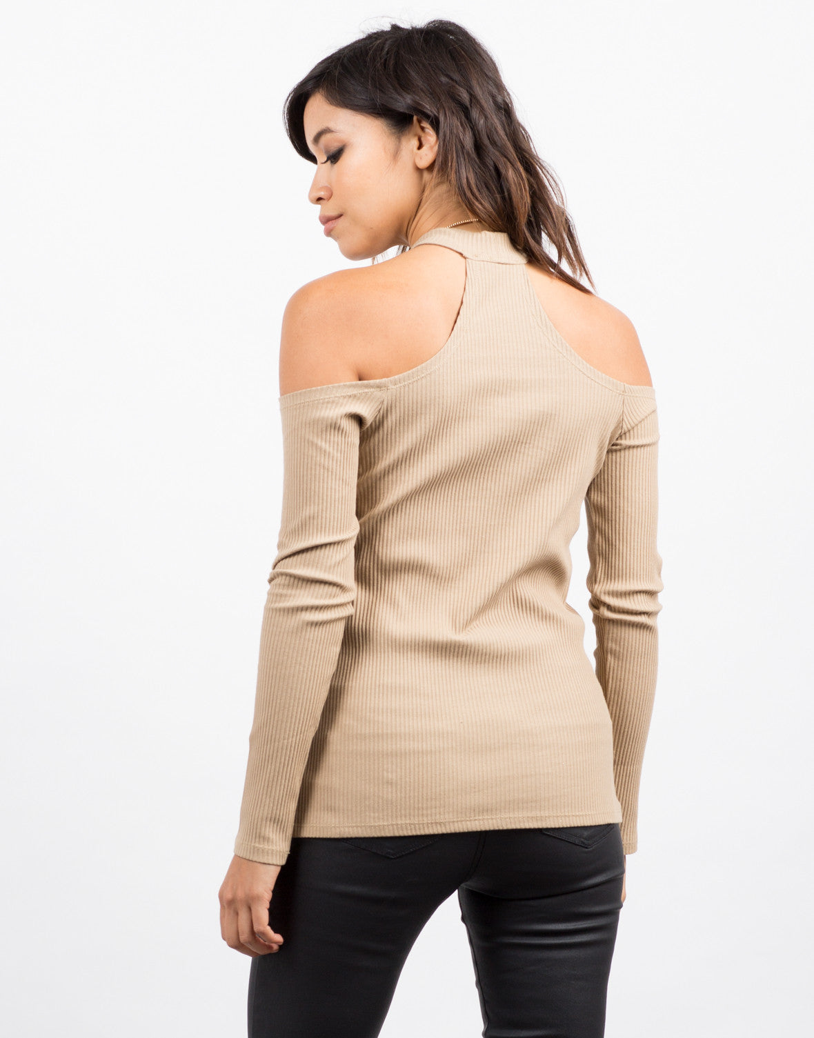 Back View of Cold Shoulder Ribbed Top