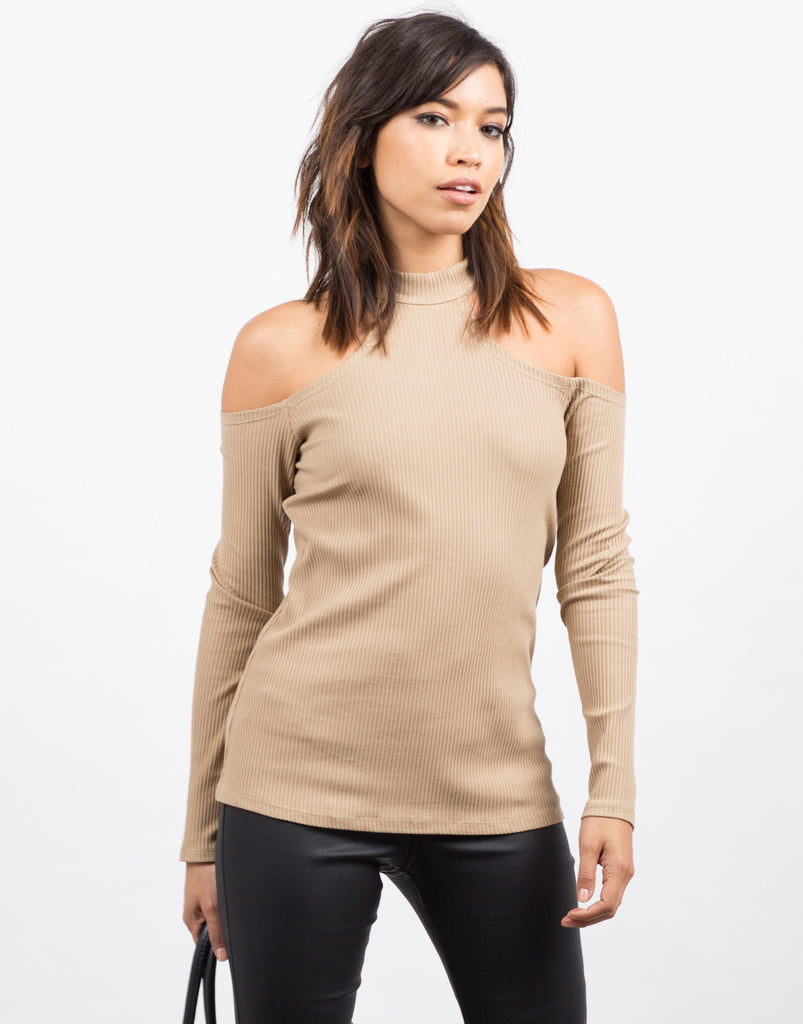 Front View of Cold Shoulder Ribbed Top