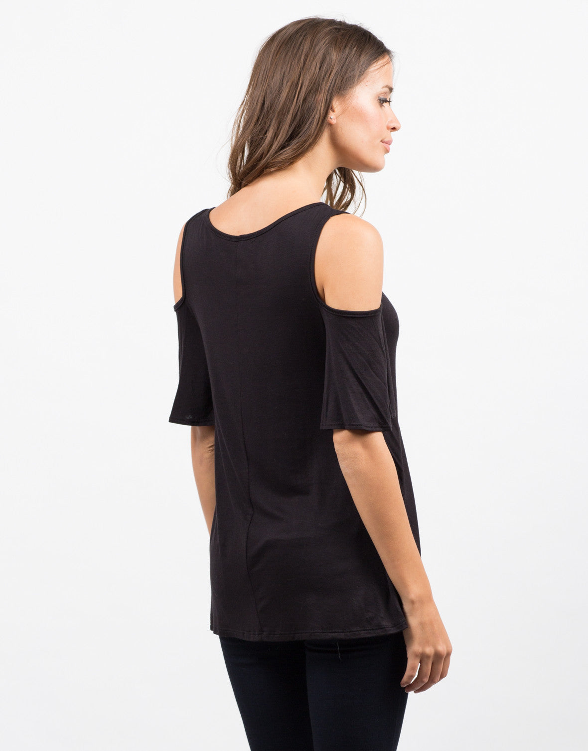Back View of Cold Shoulder Knit Top