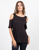 Front View of Cold Shoulder Knit Top